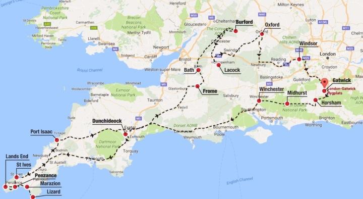 sydvästra england karta England med bil 2016 – MacPersson Travels sydvästra england karta