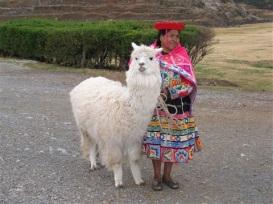 Inkakvinna med lama på Saqsayhuamán.