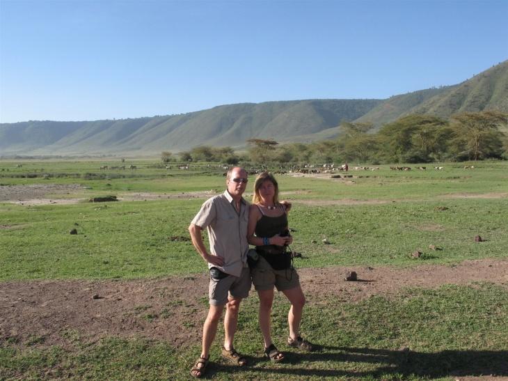 Mitt i Ngorongorokratern