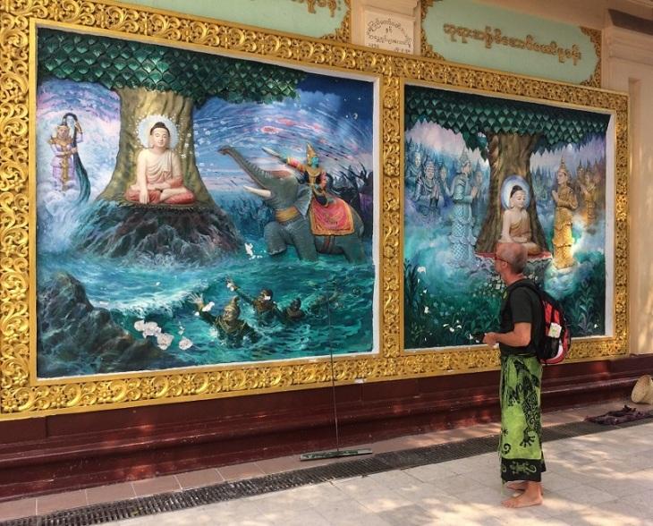 Yangon Shwedagon målningar