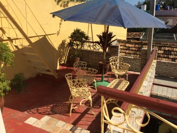 En av våra terrasser på German Hostel.